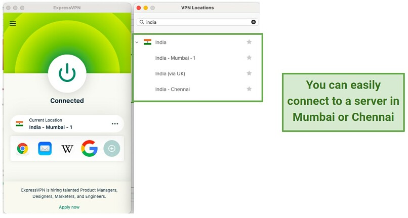 screenshot of ExpressVPN's UI connected to an Indian server