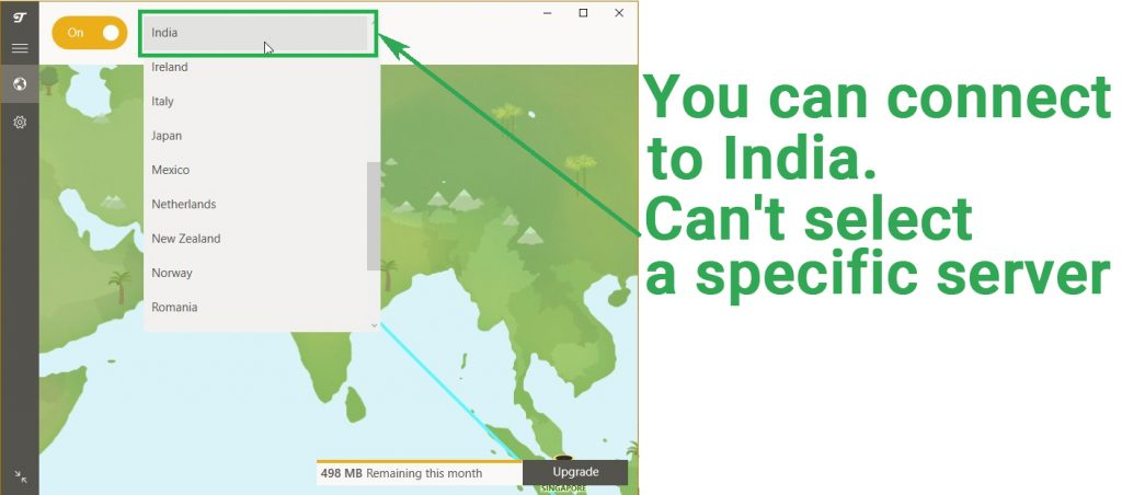 Screenshot of TunnelBear's free VPN app showing that you can connect to an Indian server, but not choose the specific server.