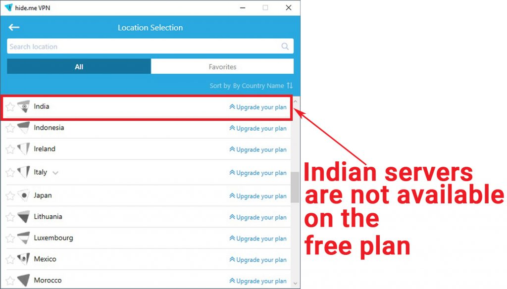 Screenshot of hide.me's free VPN app showing that Indian servers are only available on its paid plan.