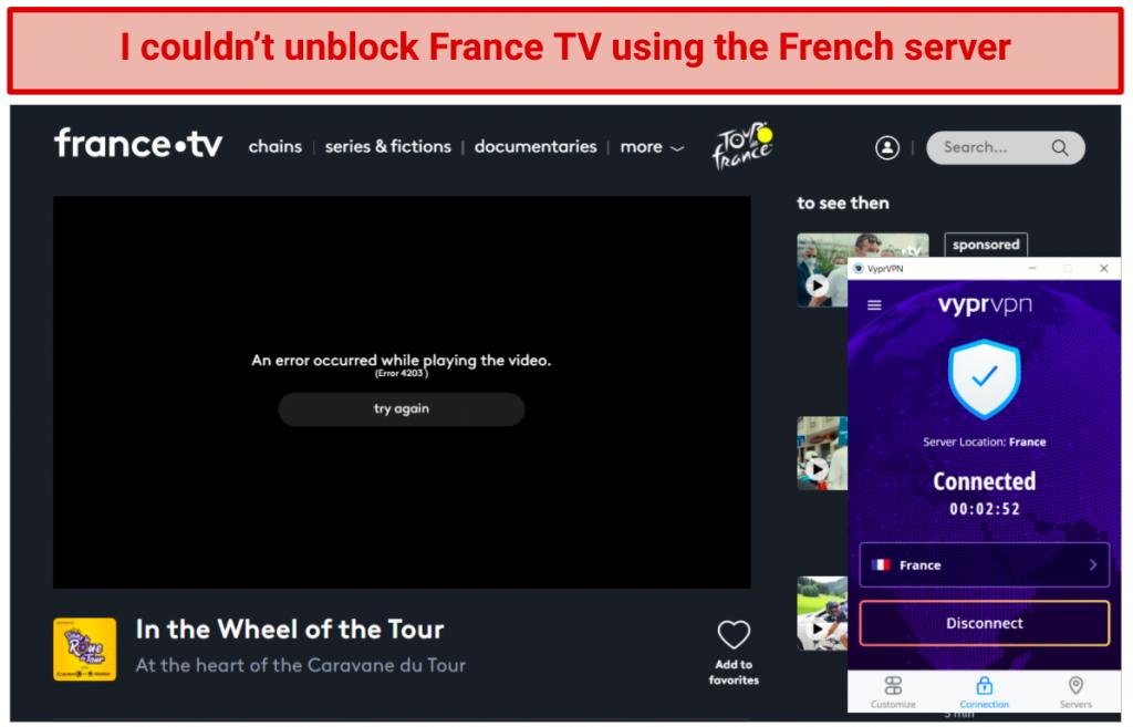 Image showing france.tv blocked after connecting to VyprVPN server in France