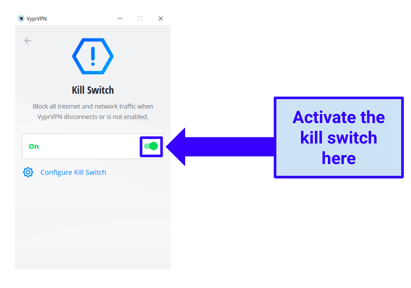 Image showing kill switch in VyprVPN Windows app