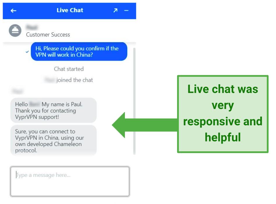 Image showing VyprVPN live chat response
