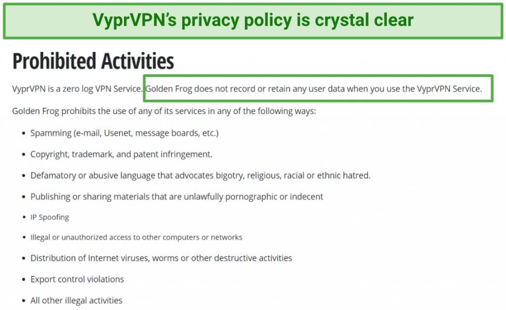 Image showing VyperVPN's privacy policy