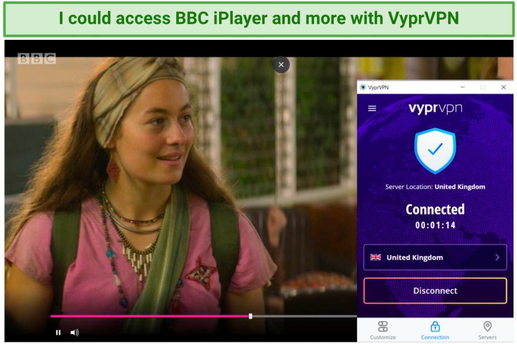 Image showing BBCiPlayer unblocked after connecting to a UK VyprVPN server