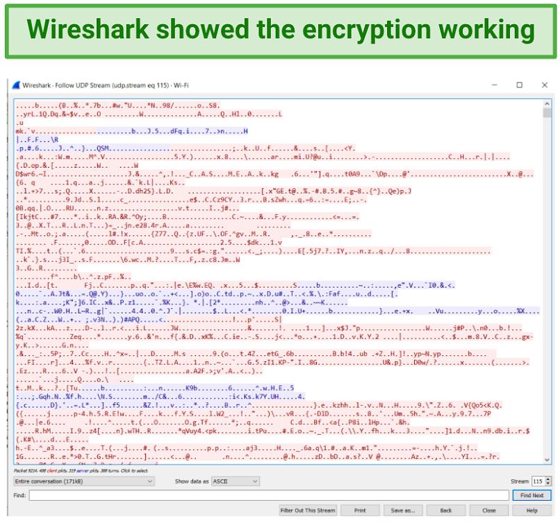 Image showing Wireshark demonstrating VyprVPN encryption is working