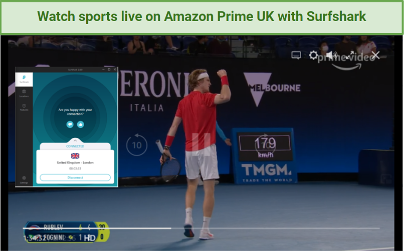 Tennis player celebrates on Amazon Prime UK while Surfshark connects to a server in London