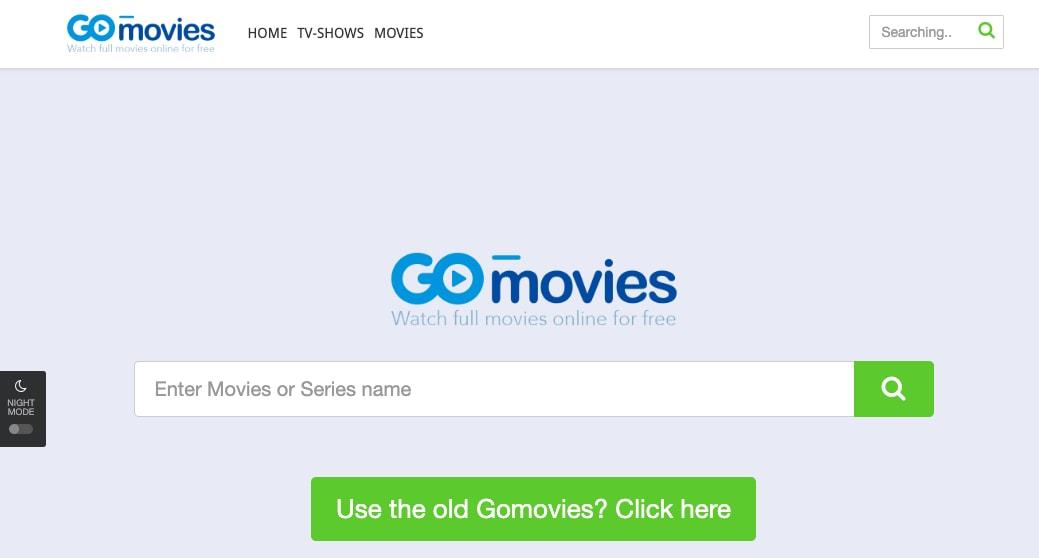 GoMovies Homepage