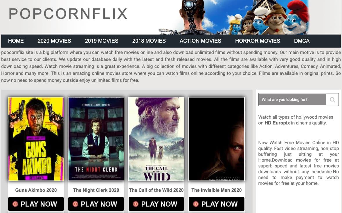 Popcornflix Homepage