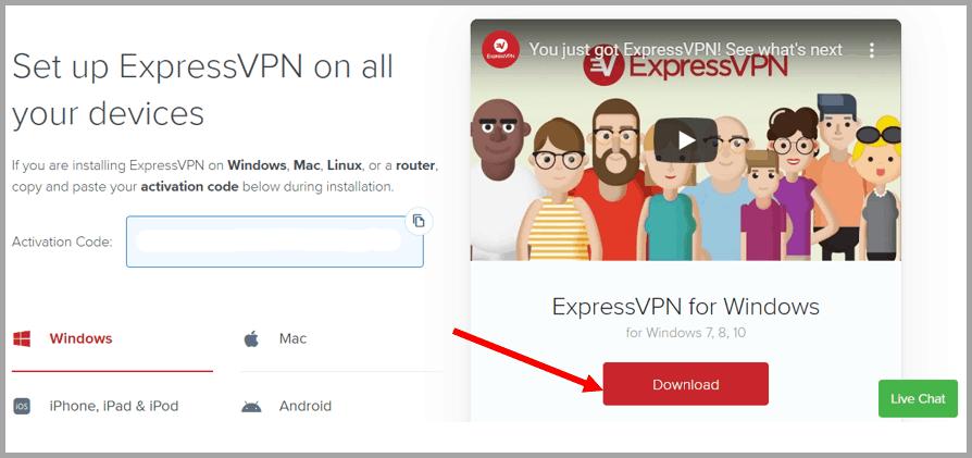 ExpressVPN activation page.