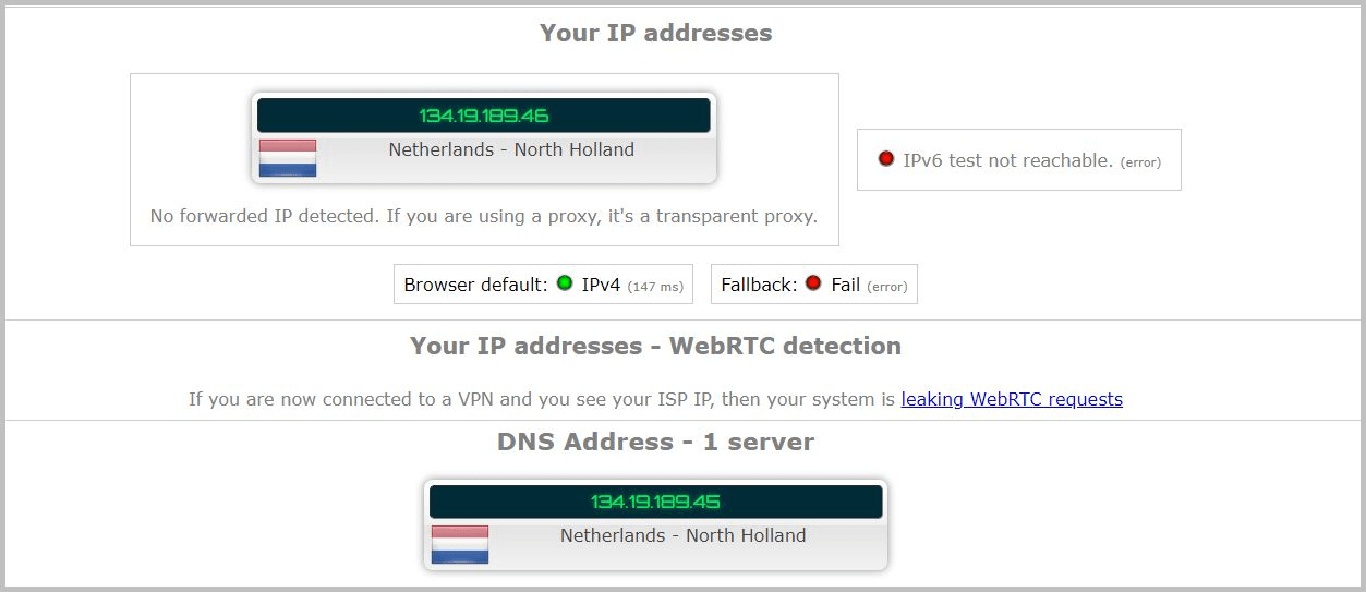 Leak test for NordVPN