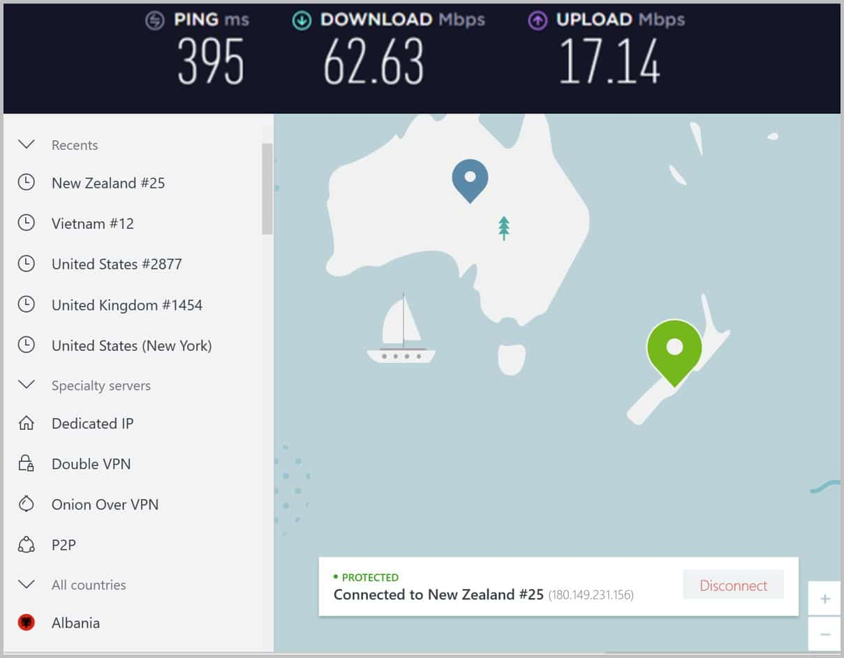 Image of NordVPN New Zealand speeds