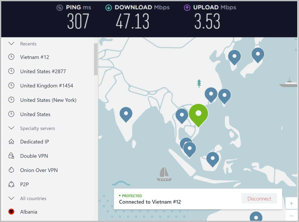 Image of NordVPN speed in Vietnam