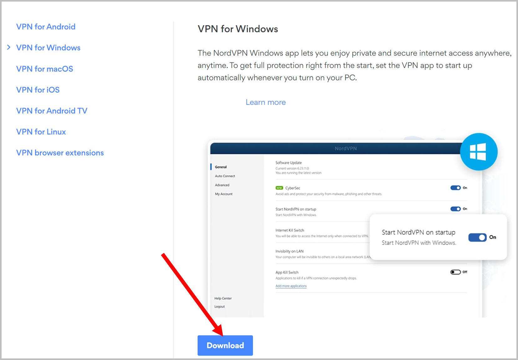 Download process for NordVPN