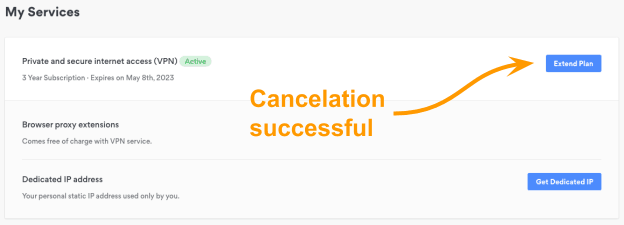 My services cancellation successful