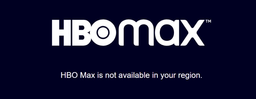 Screenshot of the HBO Max geoblock warning screen