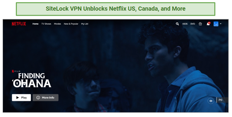 A screenshot of Netflix US, unblocked by SiteLock VPN.