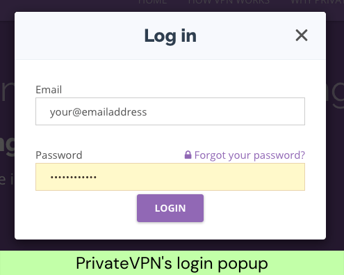 PrivateVPN's login popup