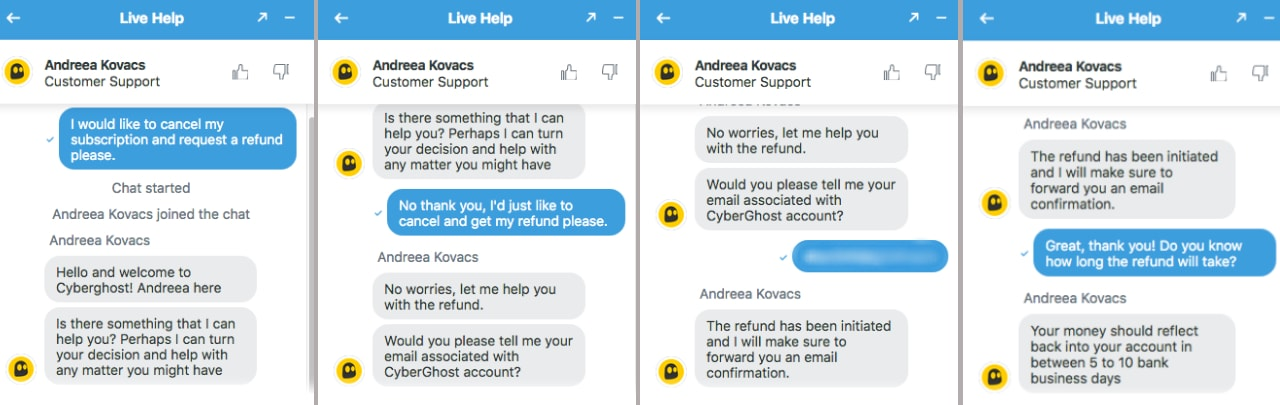 Live chat refund process