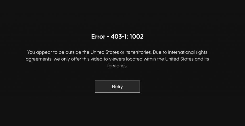 ABC Geo blocking error