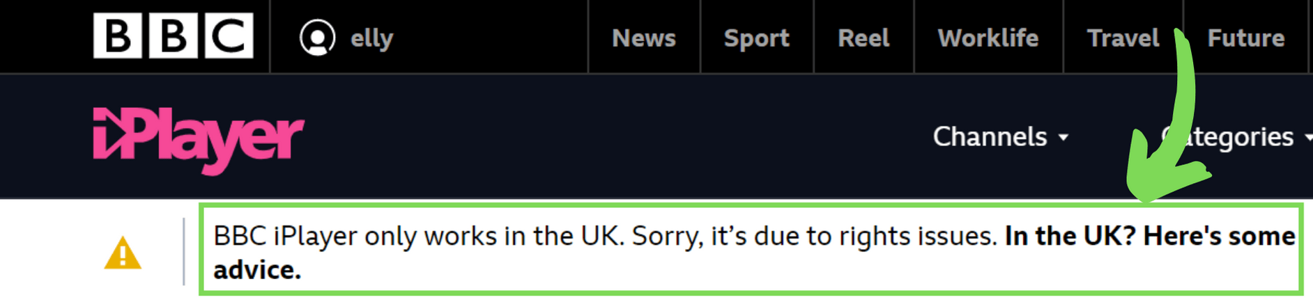 BBC iPlayer error message