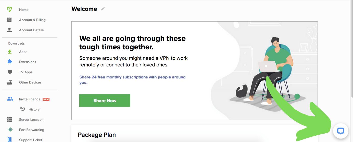 A screenshot of PureVPN's Member Area