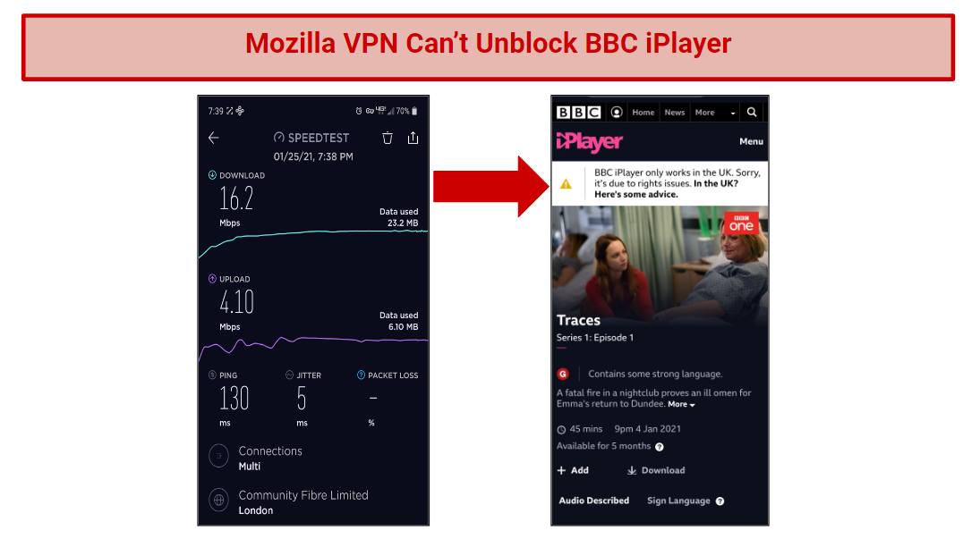 A screenshot of BBC iPlayer geoblocked, next to a speed test for Mozilla VPN London.