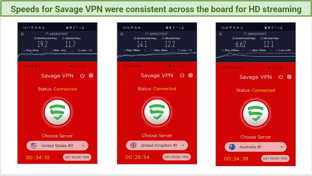 Speed test results for Savage VPN