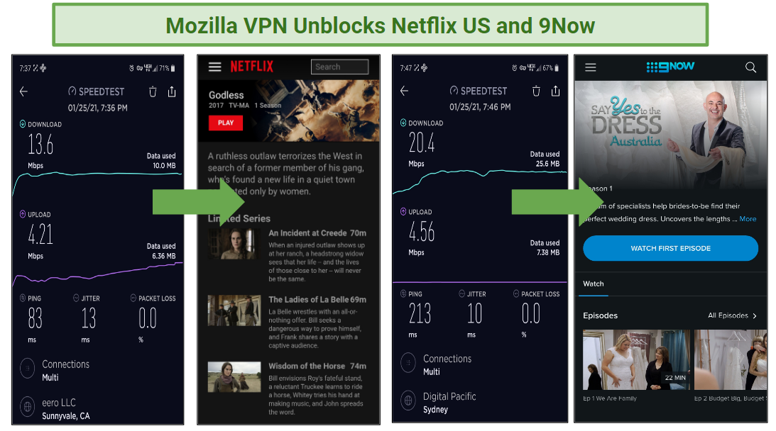 A screenshot of two of the streaming services Mozilla VPN unblocks, as well as the speeds for those servers.