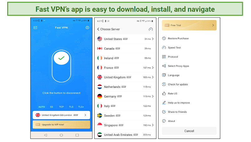 A screenshot of the Fast VPN Android interface.