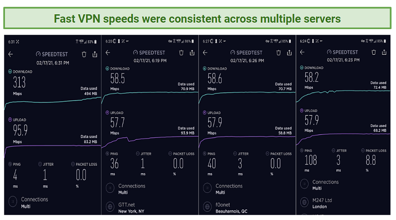 Several screenshots that depict the comparison between basespeed and speeds while connected to Fast VPN servers.
