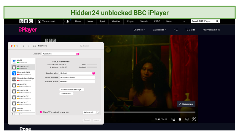 screenshot of BBC iPlayer streaming Pose unblocked by Hidden24VPN