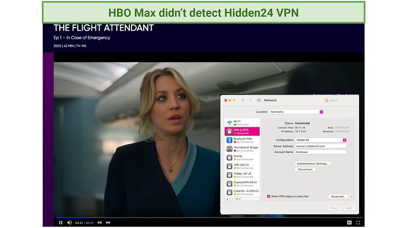 screenshot of HBO Max player streaming the Flight Attendant unblocked by Hidden24 VPN