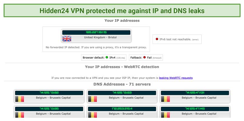 screenshot of Hidden24 VPN's IP and DNS leak test