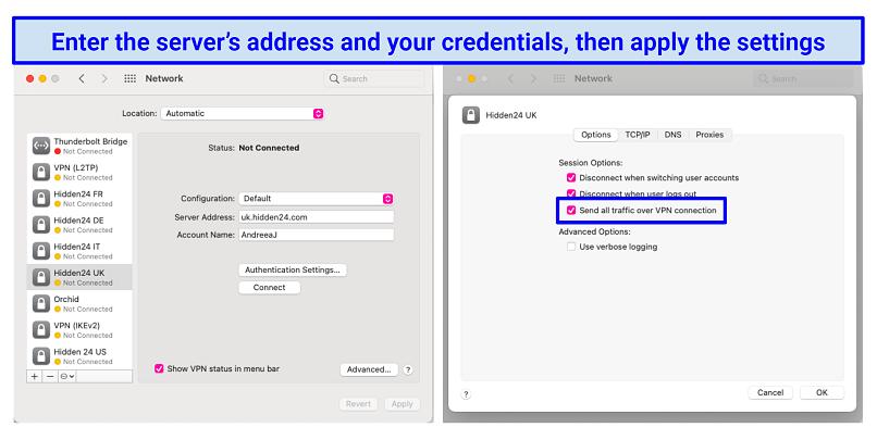 screenshot of macOS network preferences