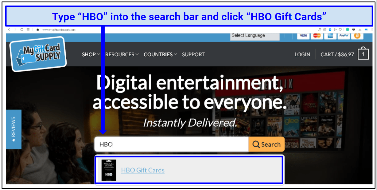 A screenshot of the search bar on MyGiftCardSupply.com showing HBO Gift Cards.