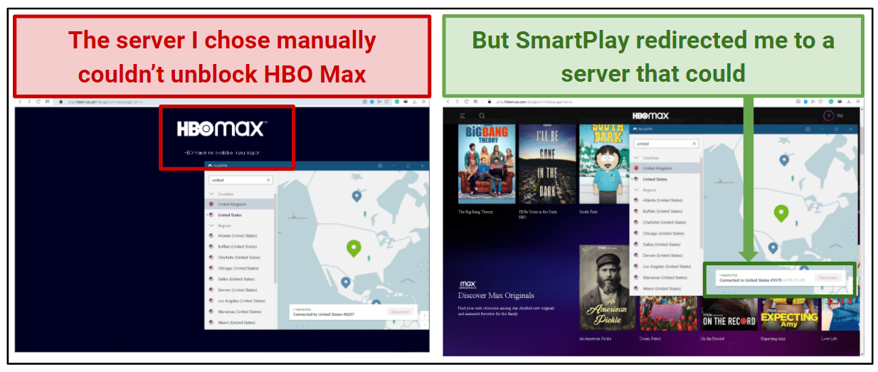 Screenshot showing the NordVPN app unblocking HBO Max using Smart Play.