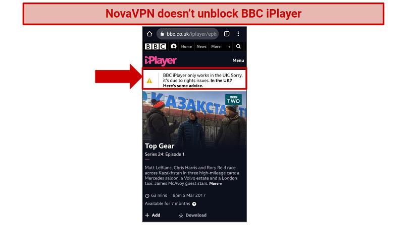 A screenshot showing BBC iPlayer blocked message.