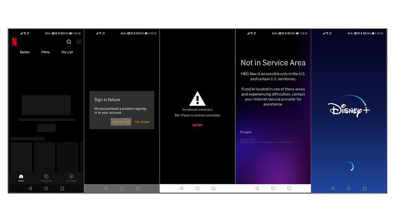 screenshot of different streaming platforms blocked with PandaVPN