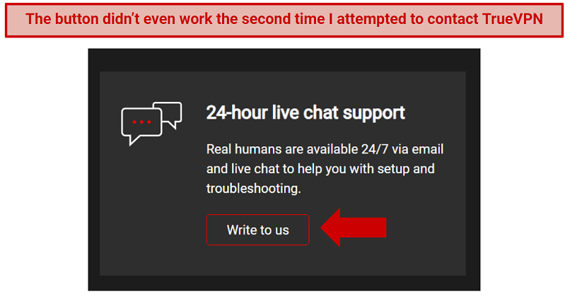 A screenshot of the live chat feature on TrueVPN.io's website.
