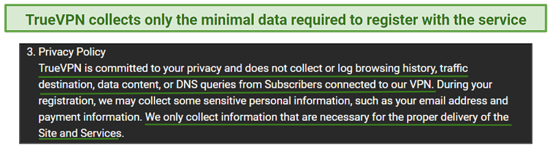 A screenshot of TrueVPN's privacy policy.