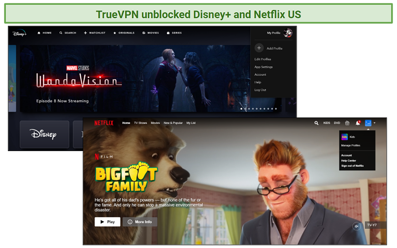 A screenshot showing Disney+ and Netflix US accounts open and working while using TrueVPN.
