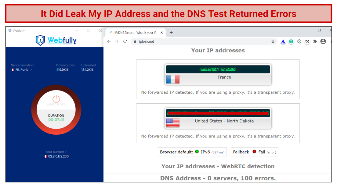 A screenshot of the DNS/IP leak test results for Webfully VPN.