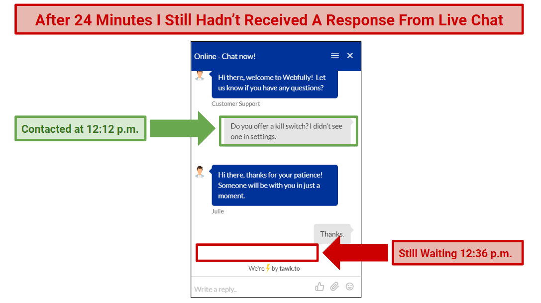 A screenshot of Webfully's Live Chat Support feature.