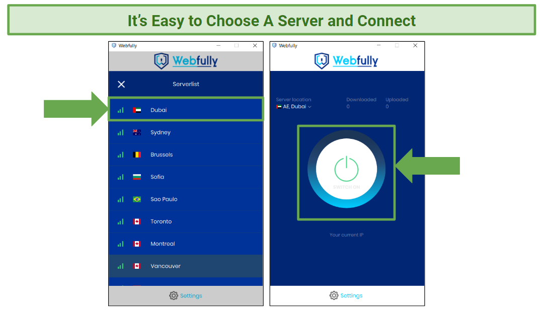A screenshot showing the server list and connection button for Webfully VPN.
