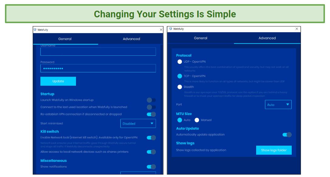 A screenshot showing Webfully VPN's settings panels.