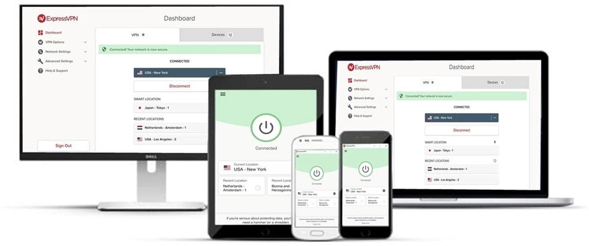 Petita organització de dispositius tècnics compatibles amb Express VPN