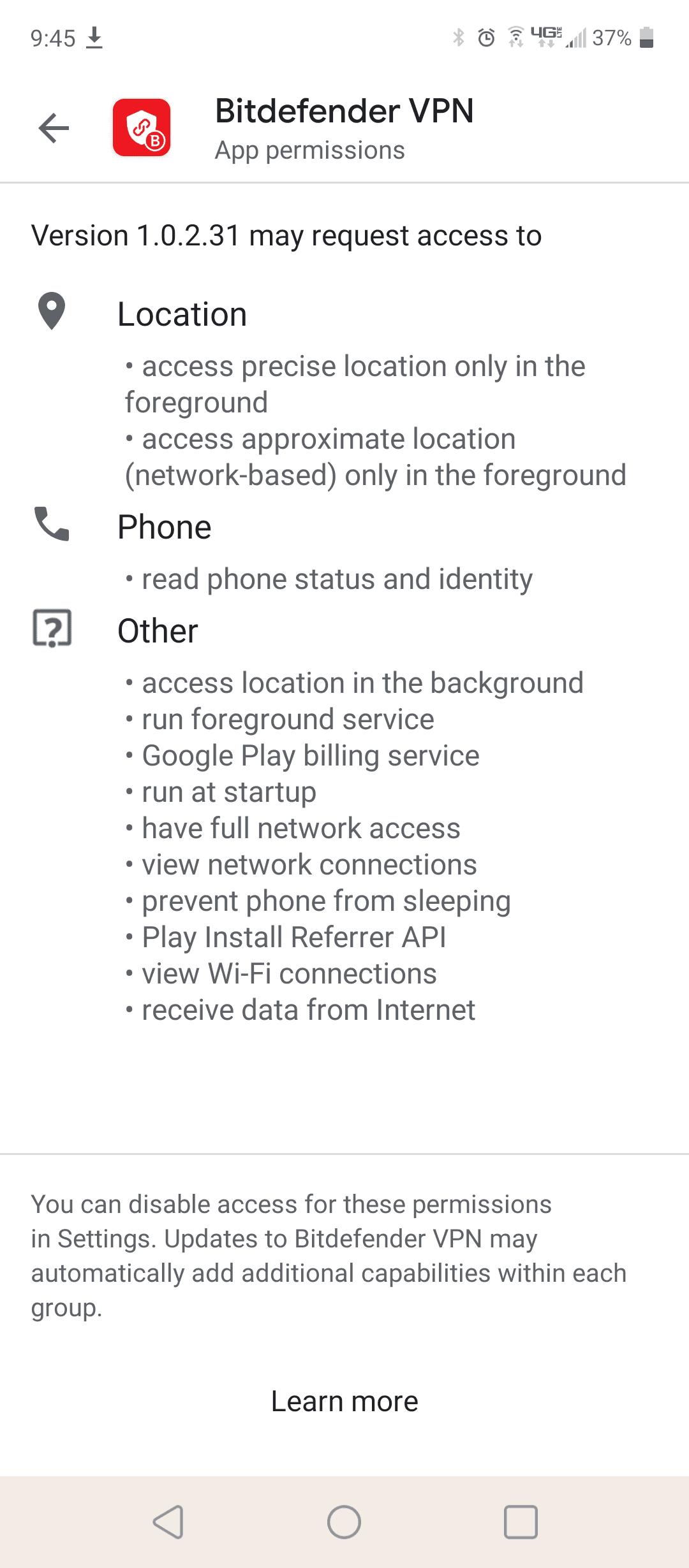 Bitdefender Android Permissions
