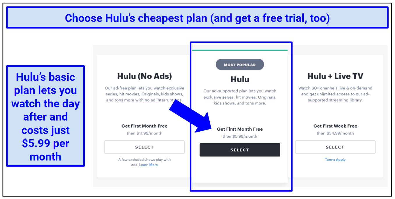 Graphic showing Hulu's subscription options with the recommendation of the cheapest.