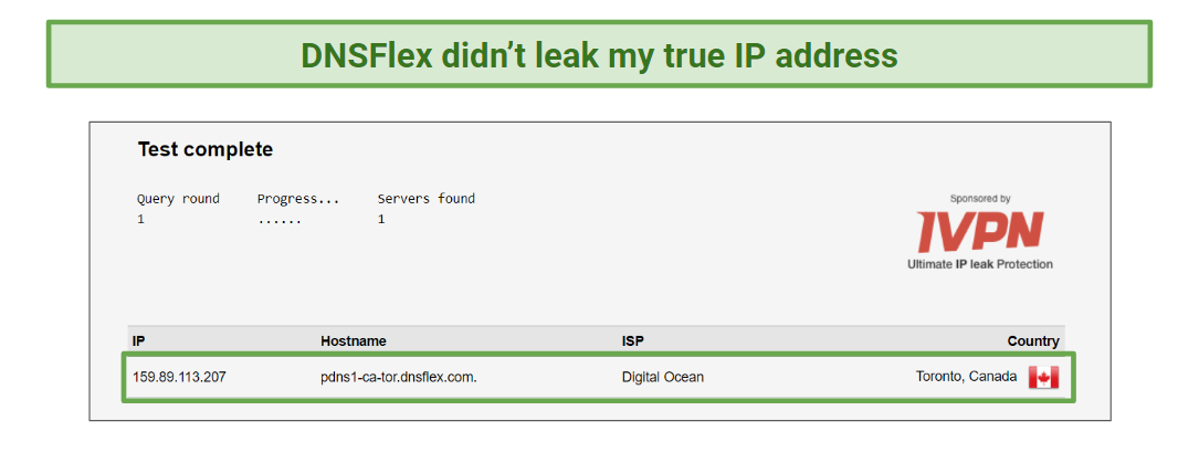 Leak test performed on DNSFlex.
