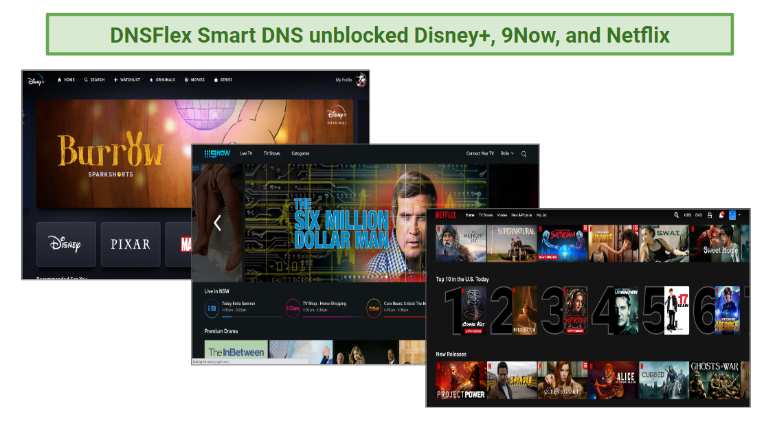 Smart DNS unblocks most streaming services.